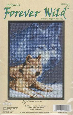 Wolf Counted Cross Stitch Kit From The Janlynn Forever Wild Series